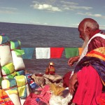 Making offerings to the water spirits of Lake Nam Tsho