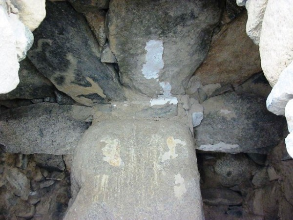 Fig.6: Interior of chorten at Nang. This highly unusual and very adept construction employed an intermediary pillar to support the bridging stones. Photo by Quentin Devers