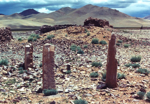 Fig. 10. These walled-in pillars in western Tibet were erected near other types of funerary structures, including a mausoleum that once had a concourse of pillars appended to it (situated directly behind the walled-in pillars). This important archaeological site in the upper Indus valley was converted into a pastoral camp in pre-modern times