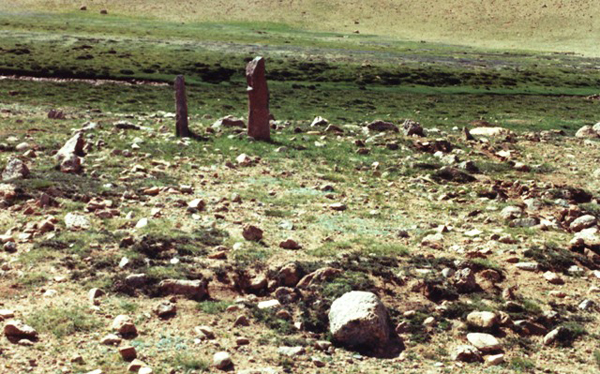 Fig. 2. Two pillars sit at the west end of a disintegrated enclosure. This site in the central Changthang is unusual in that it was built relatively close to a watercourse, albeit on well-drained ground