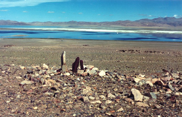 Fig. 6. Light and dark-colored pillars inside an enclosure overlooking a salt lake in the central Changthang