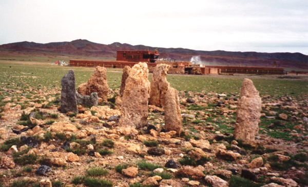 Fig. 9. These wall-in pillars happened to be found where a Kagyu monastery was built in the early 20th century. The monks regard the site as having special properties and instruct Tibetans not to litter or do anything else that could have a negative impact on it