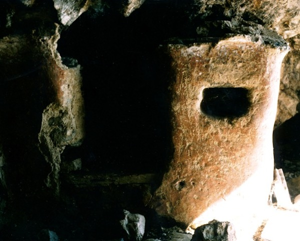 Fig. 6. This stone and mud construction appears to be the remains of a shrine or less plausibly, a storage bay. It too is found inside a cave, explaining its survival.