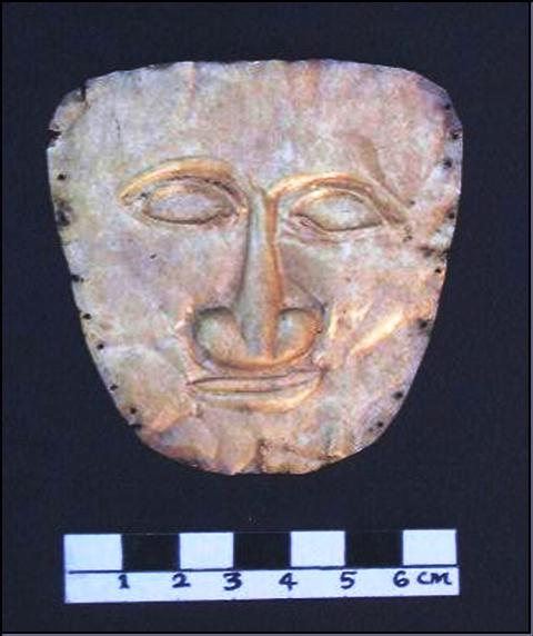 Fig. 5. The golden burial mask discovered in Malari. Photograph courtesy of Vinod Nautiyal