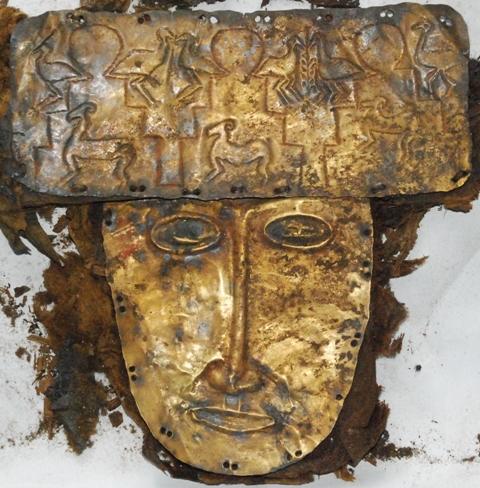 Fig. 10. The golden burial mask of Gu-ge. Photo, courtesy of Li Linhui
