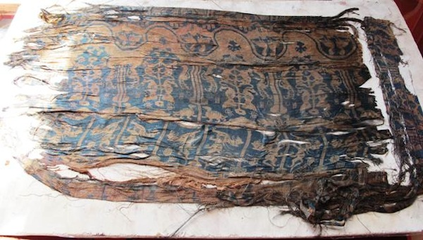 Fig. 1. The discovery of this patterned silk in the Gurgyam burial created quite a sensation in the international academic community. The learned comments of experts pertaining to it are found in the October 2010 newsletter.