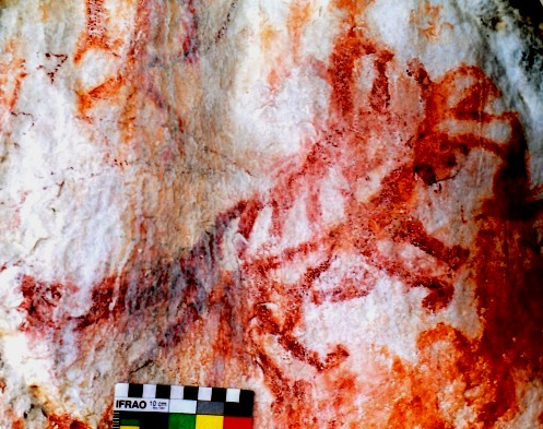 Fig. 10. A red ochre pictograph, eastern Changthang, early historic period or vestigial period (1000–1250 CE). This is the only ostensibly historic era tiger to have been documented in Tibetan rock art and the only one found on the Changthang. Given the epigraphy and other rock art at this locale, this pictograph is likely to have had religious value for non-Buddhist cults we can loosely refer to as bonpo. In style, this red ochre tiger is not unlike some tiger copper alloy talismans (thog-lcags).