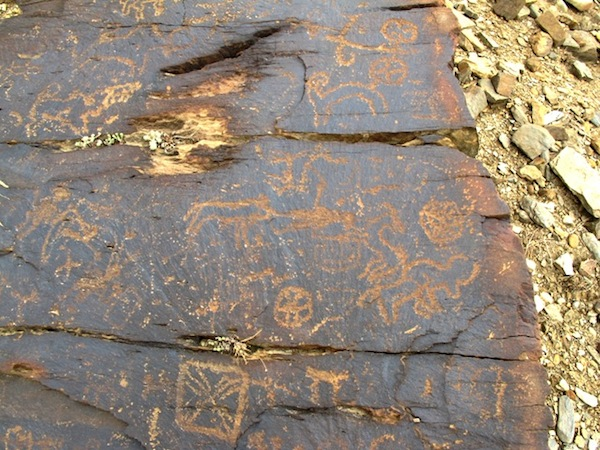 Fig. 1. On this rock panel is a variety of figures that according to their style, manner of production and physical appearance seem to have been made in the same timeframe, western Tibet. These petroglyphs can provisionally be dated to the Iron Age (600–100 BCE) or perhaps somewhat earlier.
