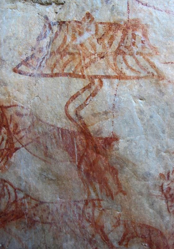 Fig. 11. The unusually rendered parasol on the same rock panel as the Bon religious mantra discussed above. It was painted over a hunting scene consisting of an archer on horseback and a hound chasing two deer.