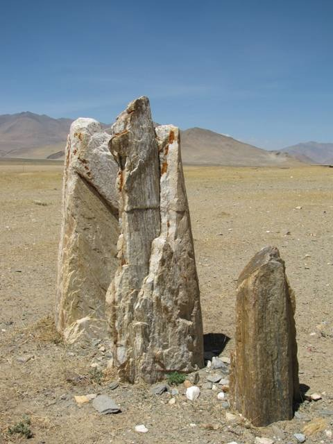 Fig. 9. The highly eroded pillars of Three Long Stones