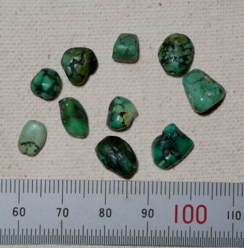 Fig. 2. Ten small Tibetan turquoise beads.