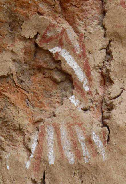 Fig. 19. What may possibly be a handprint was also painted in two contrasting colors. In Tibetan religious tradition, handprints are used to seal a religious quality or blessing on a sacred article (such as a scroll painting). Perhaps a similar function was intended here: the securing of the site for the faction represented by the 'handprint'.