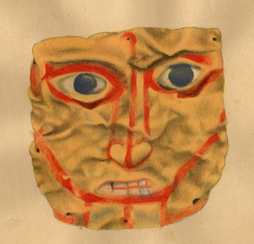 Fig. 30. The golden burial mask of Gurgyam. This mask is a miniature (4.2 cm x 4.2 cm). Eyes wide open and teeth bared, the face conveys  a quality of starkness or candor. The perforations along the edge of the mask indicate that it was attached to something else. Painting by Lingtsang Kalsang Dorjee.