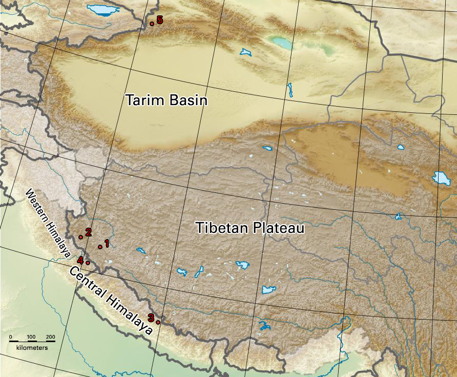 Map: Locations where the golden burial masks of Upper Tibet, the Himalaya and northwestern Xinjiang were discovered. 1. Gurgyam; 2. Chuthak; 3. Samdzong; 4. Malari; 5. Boma Cemetery.