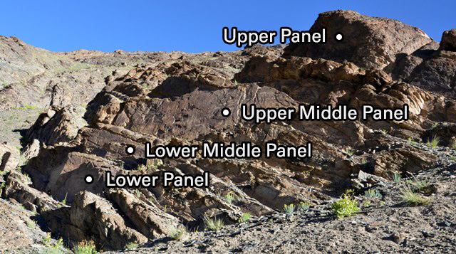 Fig. 2. The central outcrop of Thakhampa Ri. The four panels of the main site are designated.