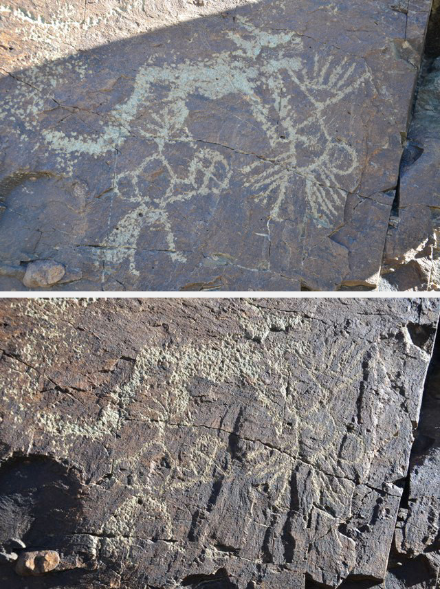 Fig. 4. Here depicted are two photos of the same rock art composition, one shot in direct sunlight and one in the shade. See Sonam Wangdu (1994: 89) for a similar contrast in imaging.