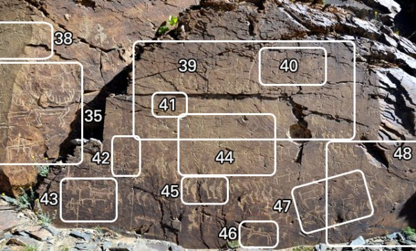 Fig. 34. The lower panel of rock at Thakhampa Ri (approximately 3 m x 1.5 m). This panel is naturally divided into west and east halves by the strike of the rock stratum. The locations of rock art selected for individual depiction are designated.
