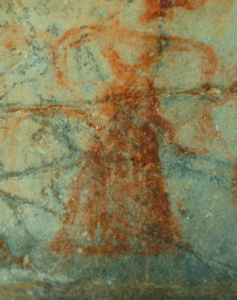 Fig. 12. One of many different subjects painted inside a pyramidal niche. Early Historic period or Vestigial period, eastern Changthang.