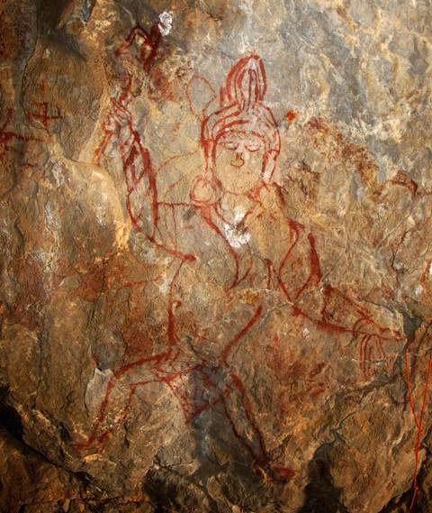 Fig. 35. This large red ochre pictograph of a turbaned anthropomorph is 2/3 life size. Early Historic period, central Changthang.
