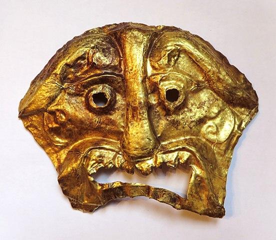Fig. 1. A prehistoric repoussé golden death mask, perhaps of western Tibet provenance (15 cm x 12 cm), pre-200 CE. Private collection.