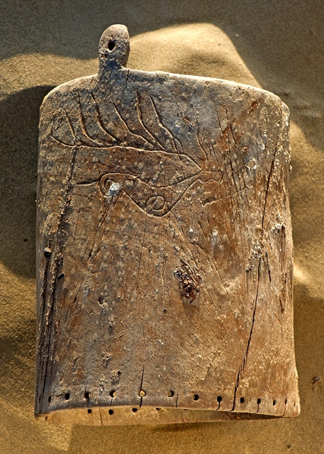 Fig. 5. Deer carved on the other side of the wooden vessel shown in fig. 4, Satma Mazar, Xinjiang, Iron Age. Photograph courtesy of Christoph Baumer.