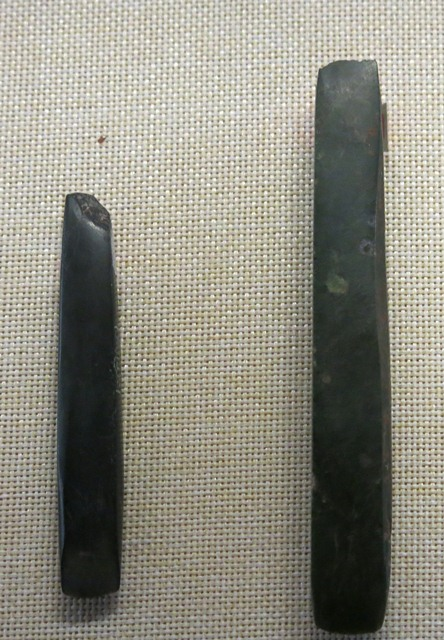 Fig. 6. Polished jade chisels, Kharub (Kha-rub), Chamdo. Middle or Late Neolithic (5300–4000 BP). Tibet Museum collection.