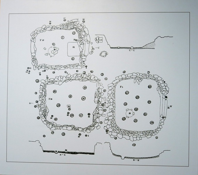 Fig. 9. Ground plan and cross-section view of excavated dwelling at Kharub from the late phase of occupation (third millennium BCE). The various smaller circles designate postholes. The larger circles with intermittent lines represent hearths. Tibet Museum collection.