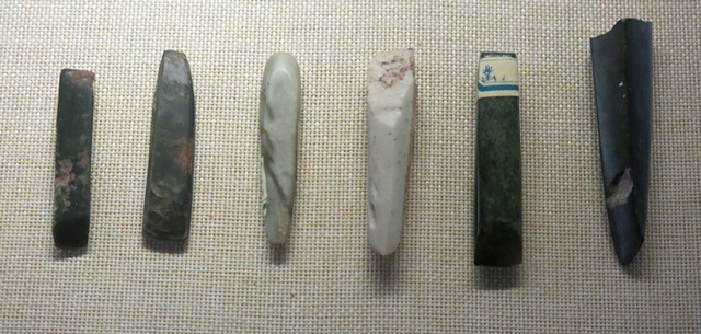 Fig. 14. Polished stone chisels from Kharub, Chamdo, Middle or Late Neolithic (5300–4000 BP). Tibet Museum collection.