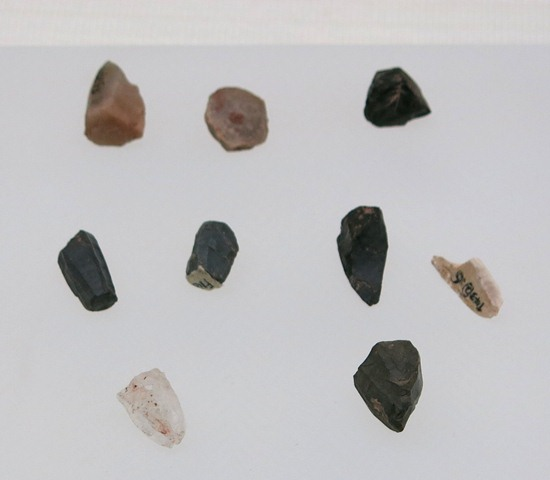 Fig. 18. Microlithic cores (conical, polyhedral, wedge-shaped), Chugong (Chu-gong), Lhasa. Late Neolithic (4000–3500 BP). Tibet Museum collection.