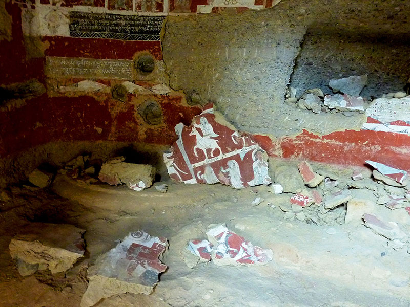 Fig. 19. Destroyed frescos at the Mang-brag cave temple in Guge. This sickening act of vandalism occurred six or seven years ago. Photo courtesy of D. Ott.