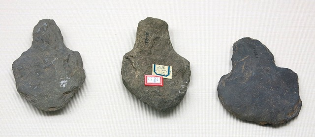 Fig. 34. Stone spades, Chugong, Lhasa. Late Neolithic (4000–3500 BP). Tibet Museum collection.