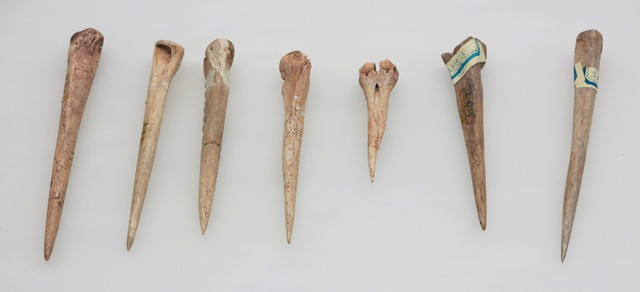 Fig. 38. Bone awls, Chugong, Lhasa, Late Neolithic (4000–3500 BP); Kharub, Chamdo, Middle or Late Phase (5300–4000 BP); Kharub, Late Phase (4000 BP). Tibet Museum collection.