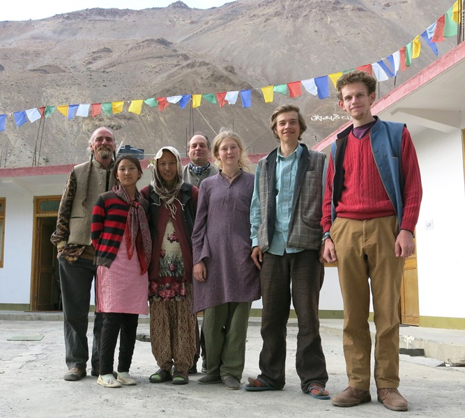 Fig. 5. The rock art documenting team at their guesthouse in Tabo