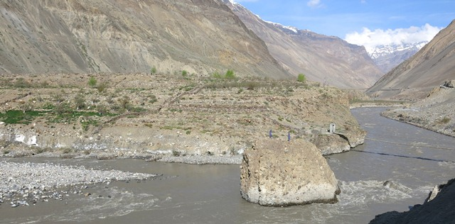 Fig. 37. A view of the eastern portion of the Sahal Thang site from across the Spiti river.