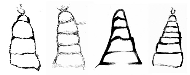 Figs. 71–73. Black and white drawings of shrines and chortens in the rock art of Upper Tibet resembling those found in Spiti. Protohistoric and Early Historic periods. By Lingtsang Kalsang Dorjee and his atelier.