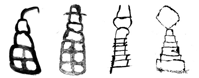 Fig. 72. Black and white drawings of shrines and chortens in the rock art of Upper Tibet resembling those found in Spiti. Protohistoric and Early Historic periods. By Lingtsang Kalsang Dorjee and his atelier.