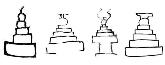 Fig. 73. Black and white drawings of shrines and chortens in the rock art of Upper Tibet resembling those found in Spiti. Protohistoric and Early Historic periods. By Lingtsang Kalsang Dorjee and his atelier.