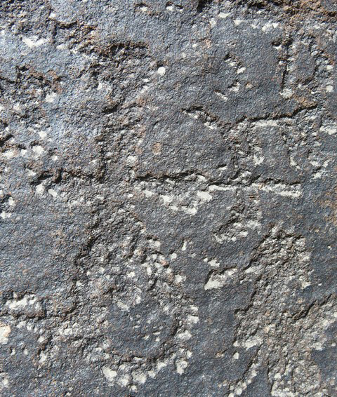 Fig. 5.3. A close-up of the uppermost archer in fig. 5.1. This anthropomorph exhibits characteristic features of Spitian rock art including a small, round head, long, straight body and male genitalia.