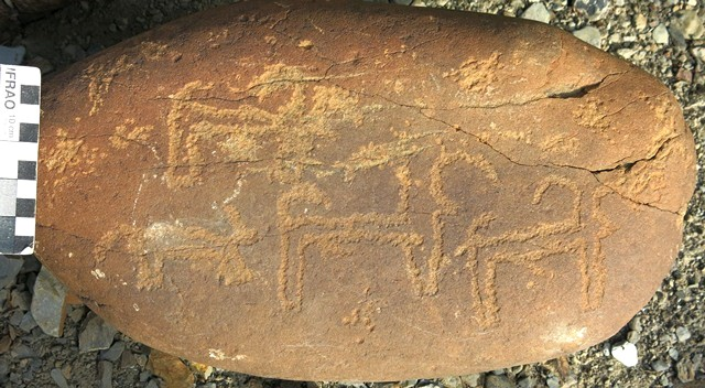 Fig. 11.7. Three blue sheep and what appears to be a carnivore in pursuit carved on a small boulder. The carnivore could possibly be a wolf or snow leopard, both of which are still found in Spiti. Protohistoric period.