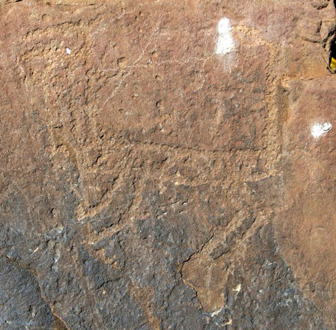 Fig. 14.5. An unusually styled wild ungulate whose body appears to have contained a carved design resembling stripes or squares (18 cm long). The long vertical line on the right may represent the horns of another animal. Protohistoric period.