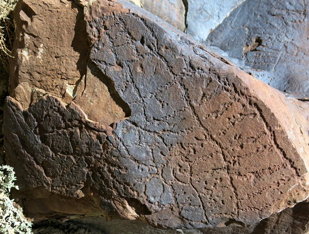 Fig. 14.64. Complex geometric design covering the face of a boulder. It includes long vertical lines and shorter connecting horizontal lines. Some of these carvings have been obliterated. Protohistoric period.