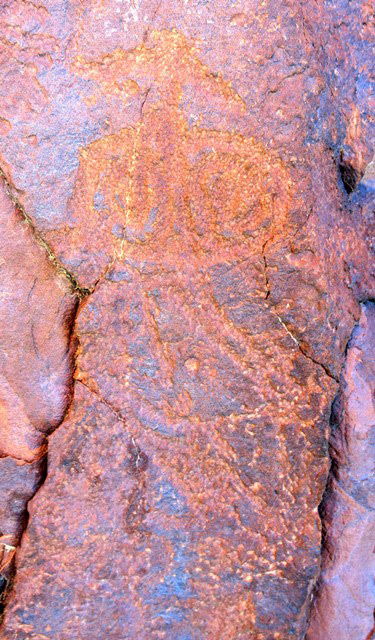 Fig. 14.69. Another possible ritual object or shrine. Part of the left side of this carving has been destroyed. This petroglyph has a wide triangular finial with a wedge-shaped top, thin neck, circular middle section with curvilinear designs, triangular lower section and rectangular base. Note that parallel lines were used in the creation of the outline of this figure. It is also possible that this is the representation of a raptor. Those resembling this subject are known in Spitian rock art (see August 2015 Flight of the Khyung, figs. 17, 18). Protohistoric period.