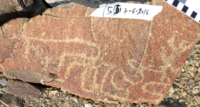 Fig. 19.3. Rectilinear subject wrapped around two sides of rock. Early Historic period. Photo courtesy of the Spiti Rock Art and Historical Society.