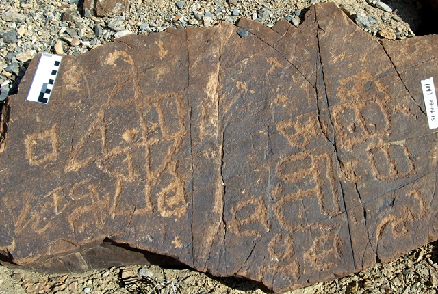 Fig. 19.4. A variety of unusual geometric forms that almost have the appearance of letters. Probably Protohistoric period. Photo courtesy of the Spiti Rock Art and Historical Society.
