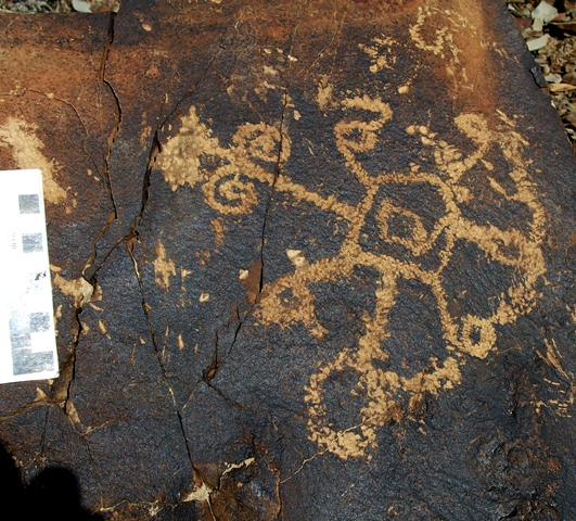 Fig. 19.5. An unusual curvilinear subject comprised of lines terminating in circles and spirals that radiate from a central pentagonal form. Early Historic Period. Photo courtesy of the Spiti Rock Art and Historical Society.