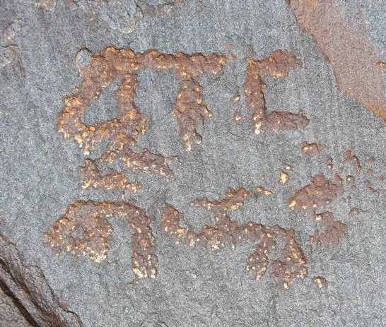 Fig. 1. These carvings are found on top of a boulder in close proximity to two nondescript petroglyphs created in the same time frame.