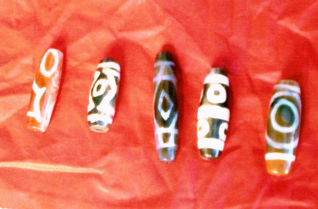 Fig. 6. Ancient patterned agate beads recovered from tombs at Gyu. Photo courtesy of SRAHS.
