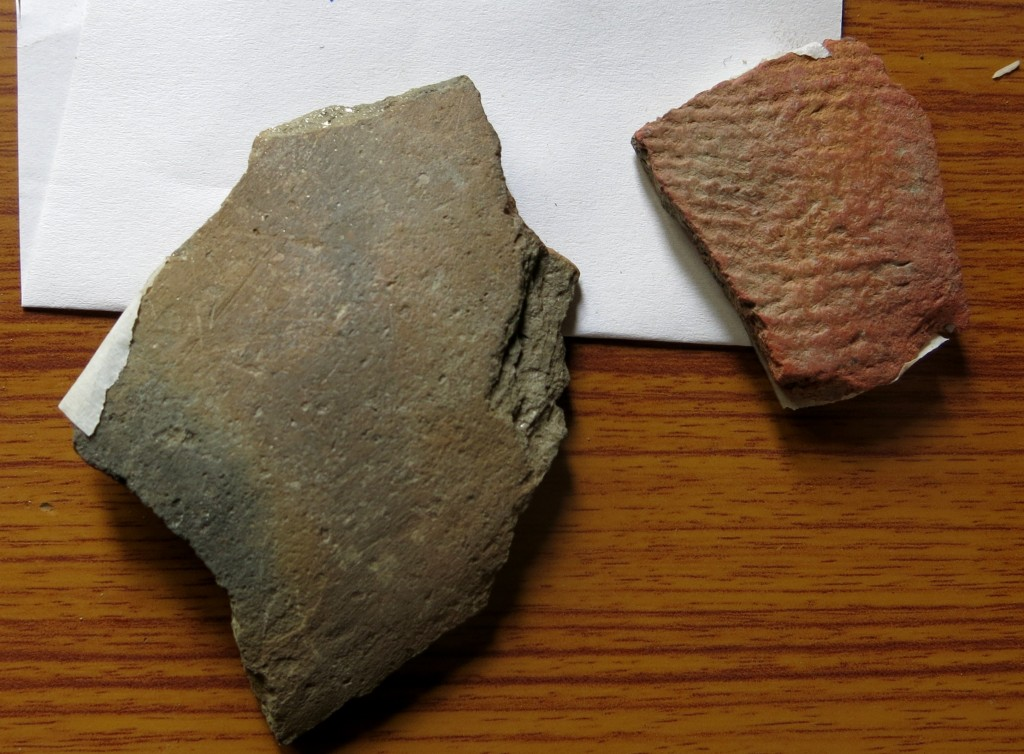 Fig. 7. Two pottery sherds collected in Gyu by members of the SRAHS. The sherd on the right is from a smooth-walled greyware vessel. The sherd on the right is a fabric- or basket-marked thin-walled piece of redware. Such types of ceramics are likely to have come from local tombs.