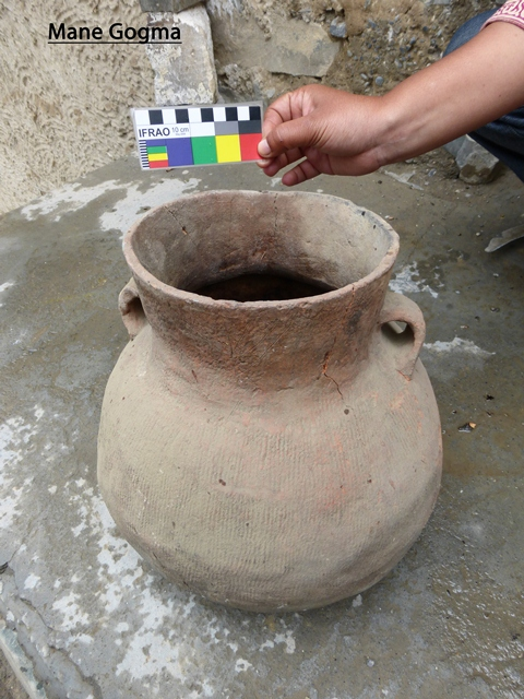 Fig. 14. Cord-marked bulbous jar of buffware picked up from Mani Gongma tomb mentioned above in Rajini Murali's report. Photo courtesy of SRAHS.