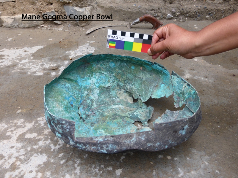 Fig. 15. Copper basin found in same Mani Gongma tomb mentioned above in Rajini Murali's report. Photo courtesy of SRAHS.